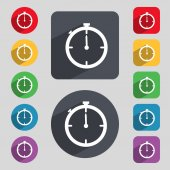 Timer sign icon. Stopwatch symbol. Set of colourful buttons. Vector — Stockvektor