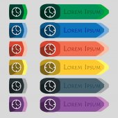Icône horloge temps signe. Symbole de la montre mécanique. Ensemble de boutons colorés. Vector — Vecteur
