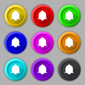 Alarm bell sign icon. Wake up alarm symbol. Speech bubbles information icons. Set of colourful buttons Vector — Stock Vector