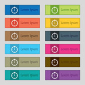 Timer sign icon. Stopwatch symbol. Set of colourful buttons. Vector — Stock Vector