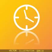 Clock time icon symbol Flat modern web design with reflection and space for your text. Vector — Vector de stock