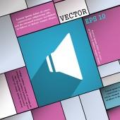 Hoparlör ses simgesi simgesi düz uzun gölge ve senin metin için yer ile modern web tasarım. Vektör — Stok Vektör