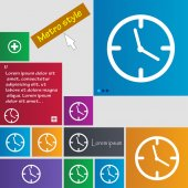 Clock time sign icon. Mechanical watch symbol. Set of colourful buttons. Vector — Stock Vector