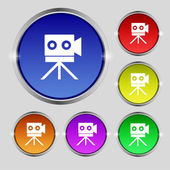 Video camera sign icon.content button. Set colourful buttons. Vector — Stockvektor