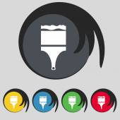 Paint brush sign icon. Artist symbol. Set of colored buttons. Vector — ストックベクタ