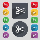 Scissors with cut dash dotted line sign icon. Tailor symbol. Set of colored buttons. Vector — Stockvektor