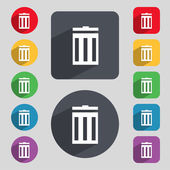 Recycle bin sign icon. Symbol. Set of colored buttons. Vector — Stock Vector