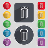 Recycle bin sign icon. Symbol. Set of colored buttons. Vector — ストックベクタ