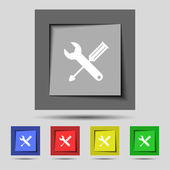 Repair tool sign icon. Service symbol. screwdriver with wrench. Set of colored buttons. Vector — Stok Vektör