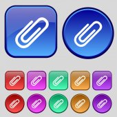 Paper clip sign icon. Clip symbol. Set of colored buttons. Vector — Stock Vector