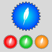 Feather sign icon. Retro pen symbol. Set of colored buttons Vector — Stock Vector