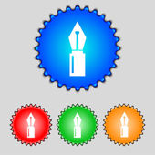Pen sign icon. Edit content button. Set of colored buttons. Vector — Stock Vector