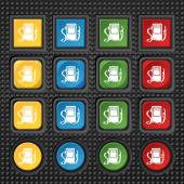 Gas, fuel station sign icon. symbol. Set of colored buttons. Vector — Stock Vector