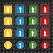 Ícone de sinal de pincel pintura. Símbolo de artista. Conjunto de botões coloridos. Vector — Vetor de Stock