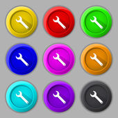 Wrench key sign icon. Service tool symbol. Set of colored buttons. Vector — Stock Vector