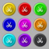 Scissors hairdresser sign icon. Tailor symbol. Set of colored buttons. Vector — Stock Vector