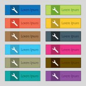 Wrench key sign icon. Service tool symbol. Set of colored buttons. Vector — Stockvektor