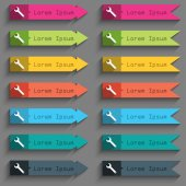Wrench key sign icon. Service tool symbol. Set of colored buttons. Vector — ストックベクタ