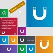 Magnet sign icon. horseshoe it symbol. Repair sign. Set of colored buttons Vector — Vector de stock