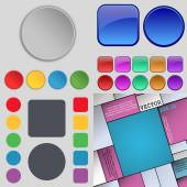 Big set of different colored buttons. Trendy, modern design for your web site. Vector — Stockvektor