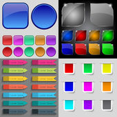 Big set of different colored buttons. Trendy, modern design for your web site. Vector — Stock Vector