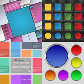 Big set of different colored buttons. Trendy, modern design for your web site. Vector — Vecteur