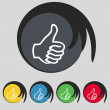 Like sign icon. Thumb up symbol. Hand finger-up. Set of colored buttons. Vector — Stock Vector #56418589