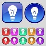 Light lamp sign icon. Idea symbol. Lightis on. Set of colored buttons. Vector — Vector de stock  #56418893