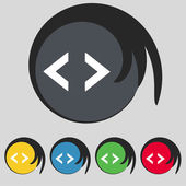 Code sign icon. Programmer symbol. Set of colored buttons. Vector — Stockvektor