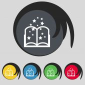 Magic Book sign icon. Open book symbol. Set of colored buttons. Vector — Stock Vector