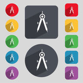 Mathematical Compass sign icon. Set of colored buttons. Vector — Stockvector