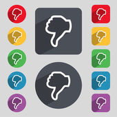 Dislike sign icon. Thumb down. Hand finger down symbol. Set of colored buttons. Vector — Stockvector