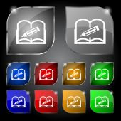 Book sign icon. Open book symbol. Set of colored buttons. Vector — ストックベクタ