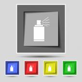 Graffiti spray can sign icon. Aerosol paint symbol. Set of colored buttons. Vector — Wektor stockowy