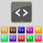 Code sign icon. Programmer symbol. Set of colored buttons. Vector — Vecteur