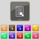 Text file sign icon. File document symbol. Set of colored buttons. Vector — Stockvektor