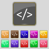 Code sign icon. Programming language symbol. Set of colored buttons. Vector — Stock Vector