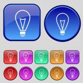 Light lamp sign icon. Idea symbol. Lightis on. Set of colored buttons. Vector — Vecteur