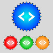 Code sign icon. Programmer symbol. Set of colored buttons. Vector — Vector de stock