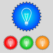 Light lamp sign icon. Idea symbol. Lightis on. Set of colored buttons. Vector — 图库矢量图片