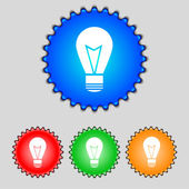 Light lamp sign icon. Idea symbol. Lightis on. Set of colored buttons. Vector — Vector de stock