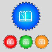 本記号アイコン。開かれた本のシンボル。色付きのボタンのセットです。ベクトル — ストックベクタ