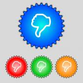 Dislike sign icon. Thumb down. Hand finger down symbol. Set of colored buttons. Vector — ストックベクタ