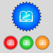 Book sign icon. Open book symbol. Set of colored buttons. Vector — Wektor stockowy