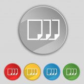 Copy file sign icon. Duplicate document symbol. Set of colored buttons. Vector — Stock Vector