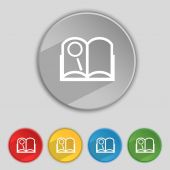 Book sign icon. Open book symbol. Set of colored buttons. Vector — Stock Vector