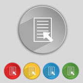 Text file sign icon. File document symbol. Set of colored buttons. Vector — Stock Vector