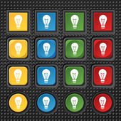 Light lamp sign icon. Idea symbol. Lightis on. Set of colored buttons. Vector — Stockvector