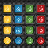 Like sign icon. Thumb up symbol. Hand finger-up. Set of colored buttons. Vector — Stock Vector