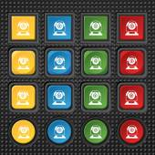 Webcam sign icon. Web video chat symbol. Camera chat. Set of colored buttons. Vector — Stock Vector